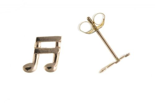 Musical Note Earrings Quaver Earrings Yellow Gold Music Stud Earrings Gold Studs